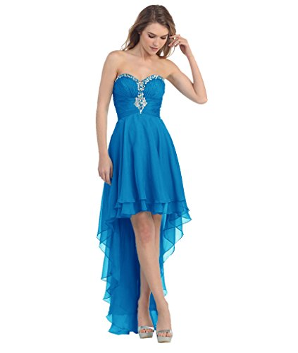 LuckyShe Elegant Seidenchiffon Abendkleider Ballkleider Partykleider Vorne Kurz Hinten Lang 61#