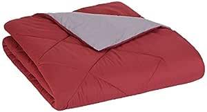 "AmazonBasics Reversible Microfiber Comforter - Single (63""x90"") - Burgundy"