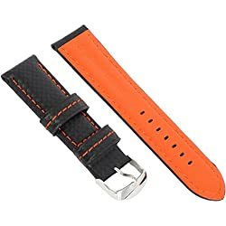 New Leder Carbon Faser Wasserdicht Uhrenarmband Herren 20 mm, schwarz orange