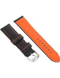 Nueva piel Fibra de Carbono impermeable reloj banda correa para hombre 24mm, Negro y Naranja