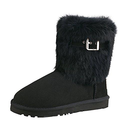 Shenduo Damen Kunstfell Stiefel Halb Schlupfstiefel Winterschuhe Klassisch Boots D13030 Schwarz 36 (Stiefel Handgefertigten Leder)