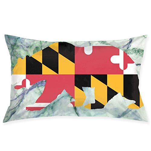 throw pillowcase Maryland California Bear Pillow Case Cover 18X30 in Hidden Zipper Double-Sided Printing Fashion Couch Sofa Waist Home Decor -