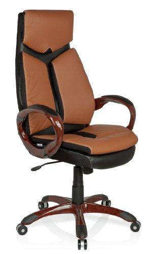 hjh OFFICE 621790 silla de oficina ERGO 100 piel sintética marrón / negro, muy cómodo