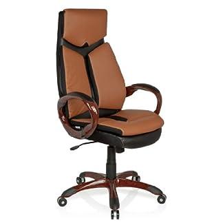 hjh OFFICE 621790 silla de oficina ERGO 100 piel sintética marrón / negro, muy cómodo, buen acholchado, con apoyabrazos, inclinable, respaldo alto, apoyacabezas integrado, estable, silla escritorio, sillón oficina