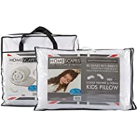 Homescapes - Kids - Natural Duvet & Pillow Set - 10.5 Tog - Goose Feather and Down Filling - 120 x 150 cm , 40 x 60 cm - Anti Dust mite 100% Cotton Fabric - Anti Allergen Filling - Toddler Quilt - Washable at Home - Firmness SOFT / Medium