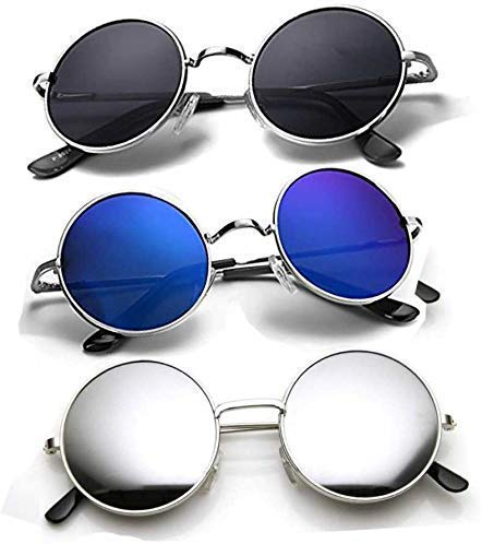 HIPPON UV Protection Round Unisex Sunglasses (Black, Blue, Silver) - Pack of 3