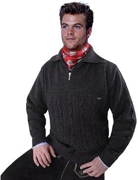 Trachtenpullover - Troyer Pullover für Herren - Anthrazit/Grau/ - Wolle/Schurwolle