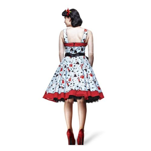Hell Bunny - Dixie - Robe Rockabilly Années 50 - Pin Up & Etoiles - Bleu/Rouge Multicolore