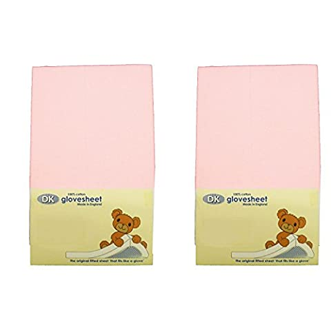 DK Glovesheets Two Fitted 83 x 50cm Crib Sheets 100% Combed Jersey Cotton - Compatible With The Next To Me Mattress - BABY PINK - TWO PACKS
