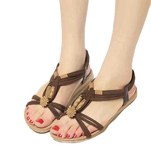 Peep Ocasional Fivela Plana Sapatos De Roman toe Marrom Vovotrade De Mulheres Sandálias Verão E5xawqg6