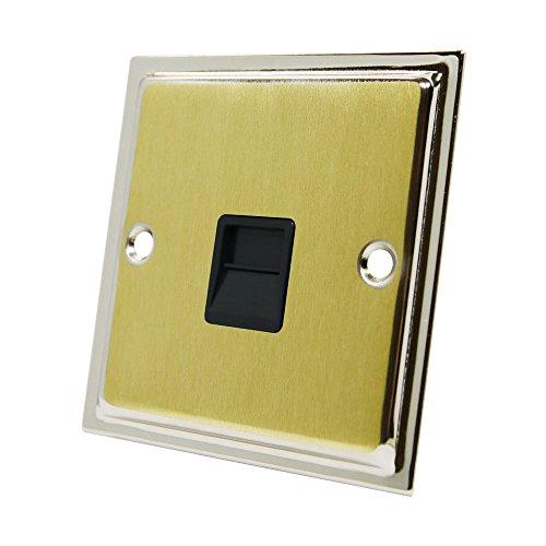 Preisvergleich Produktbild Slimline Duo Satin Messing poliert chrom Telefon Master Socket Schwarz einfügen-BT Telefon Primary Sockel