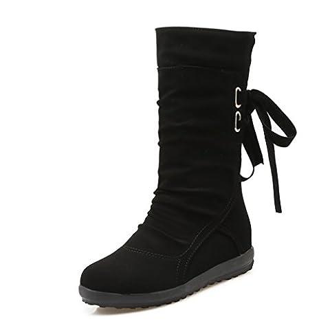 Blivener Women Back Lace Up Mid Calf Boot Ruched Comfy Flat Boots Black UK9