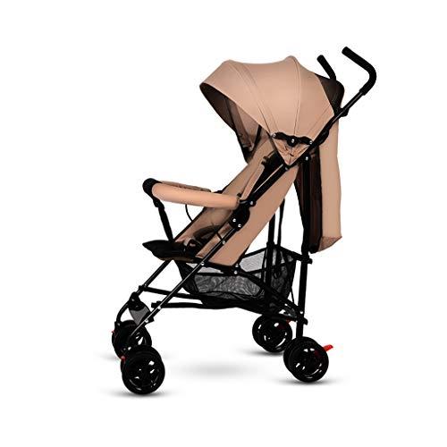 HUNYUAN-LF Folding Jogger, Leichte Sportkinderwagen, Travel System Kinder mit großem Speicher-Korb, können Sich entspannt und Lie, Khaki -