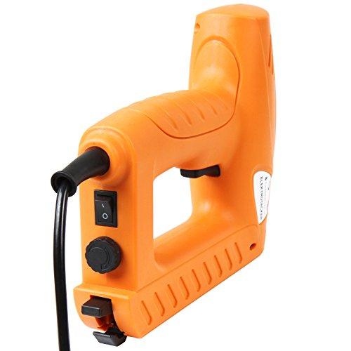 Timbertech - Agrafeuse cloueuse électrique avec 400 agrafes et 100 clous - idéale pour le bois, le textile, l'étoffe et plus encore