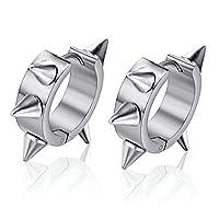 SanJiu Jewelry Men's Earrings Set Hoop Earrings Stainless Steel Earrings for Men Silver