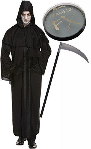 ren Sensenmann Halloween Kostüm mit Scythe & Face Paint (Scythe Halloween)