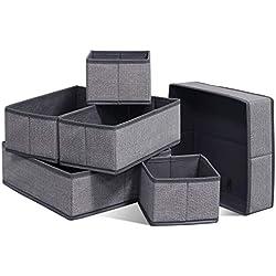 homyfort Organisateur de Tiroir 6 Pièces, Boîte de Rangement Pliable Non-tissé pour sous-vètements, Chaussettes, Utilisation Flexible boîte tiroir, Lin Gris, XDCB6P