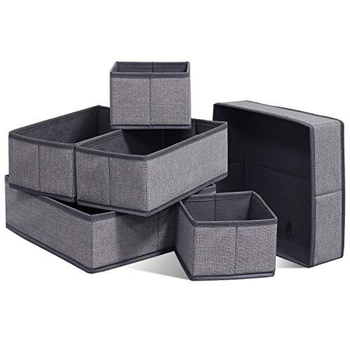 homyfort 6er-Set Stoffbox für Schrank oder Schublade, Aufbewahrungsbox für Wäsche, Gürtel, Accessoires, Aufbewahrungskiste für den Schublade Stoff kiste, Vliesstoff, Grau Leinen, XDCB6P