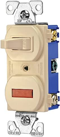 Eaton 277V 15-Amp 120-volt Combination Single Pole Toggle Switch and Pilot Light with Back and Side Wiring, Ivory by Eaton
