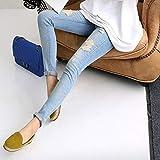d35735202 HaiQianXin Moda Maternidad Noveno Pantalones Agujero Jeans Mujeres  Embarazadas Pantalones lápiz Delgado Pantalones (Size   M)