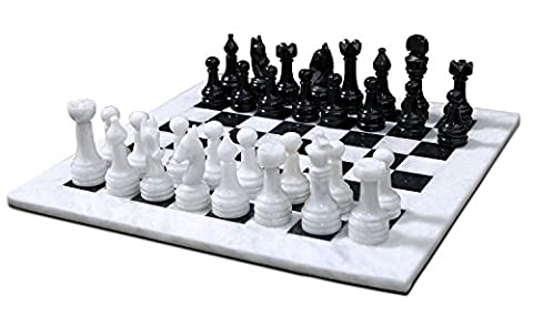 16 Inches Handmade Black and White Marble Full Chess Game