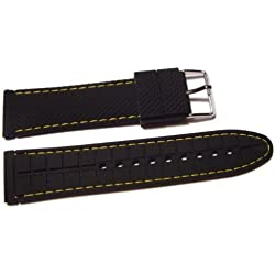 VK von Bura n01. com Silicone Watch Strap, Black With Yellow Stitching, 18 mm Watch Strap