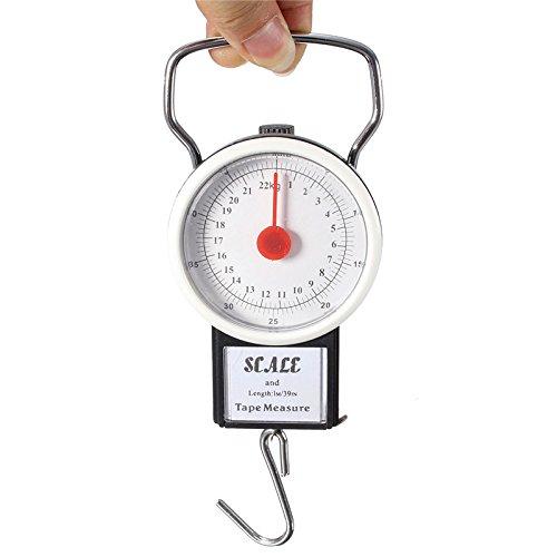 ChaRLes 2 In 1 22Kg 50Lbs Portable Scale Gepäckstücke Scale Hanging Koffer Haken Mit 1M Flexibilität Regel