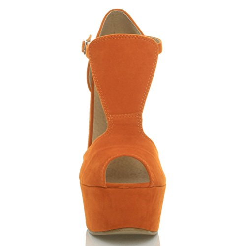 Damen Hohe Keilabsatz T-Riemen Peep Toe Schuhe Plateau-Sandalen Größe Orange / Orange Suede