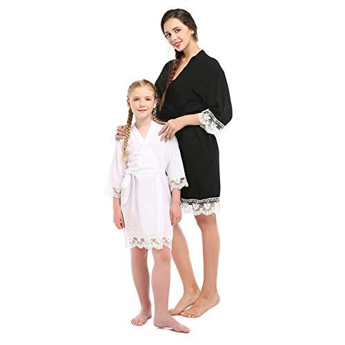 Albornoz de Encaje de algodón para Mujer, Pijama de Seda Entre Padres...