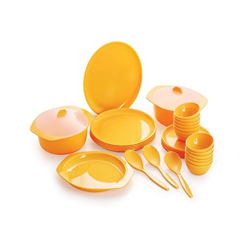 Cello Ware Round Dinner Set, 32-Pieces, Yellow  available at amazon for Rs.2054