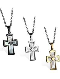 JewelryWe Bijoux 3PCS Collier Pendentif Homme Croix Coquillage Chaîne 55cm Acier  Inoxydable Fantaisie pour Homme et 0e93e43b4180