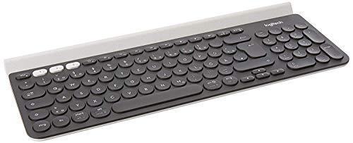 Logitech K780 Multi-Device Wireless Keyboard (für Windows/Mac/Chrome OS/Apple iOS/Android, QWERTZ deutsches Tastaturlayout) dunkelgrau/weiß