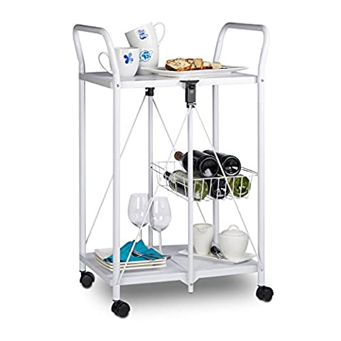 Relaxdays Serving Trolley, Folding, with Wheels, Metal, 2 Shelves, Wire Basket, HxWxD: 90 x 58 x 44 cm, Kitchen Cart,