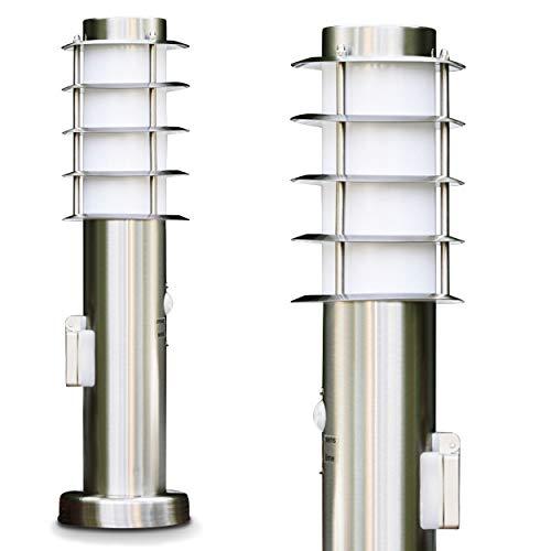 Sockelleuchte Tunes - Pollerleuchte mit Bewegungsmelder - Gartenlampe mit Steckdose aus Edelstahl in Weiß - Wegeleuchte mit indirektem Licht