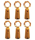 Fairy Lights 6 Pack Cork 10 LED Warm White Indoor Christmas String Lights Battery Powered Copper Wire Bottle Decorations 90 cm Lit Length