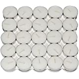 Saubhagya Global White Unscented Smokeless Wax Tea Light Candle Pack Of 50 Pcs