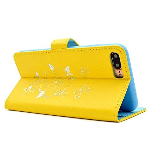 Wkae Case Cover Fleurs Butterfly Gilding Pattern Case Portefeuille Stand Case Horizontal Flip Case PU Housse en cuir TPU pour Apple IPhone 7 Plus 5.5 pouces ( Color : Gold , Size : IPhone 7 Plus 5.5 I Yellow