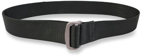 Bison Designs Guide USA Made 38 mm Active Gurtband Black Low Profile 7075 Aluminium Buckle Belt, Corrugated Black, X-Large/46-Inch Waist -