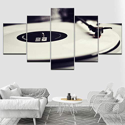 Wymw 5 Panel Moderne Kunst Lustige Musik Rekord Plattenspieler Bilder Gedruckt Auf Leinwand Poster Modular Für Wohnzimmer Wohnkultur-40X60/80/100Cm (Plattenspieler Moderne)