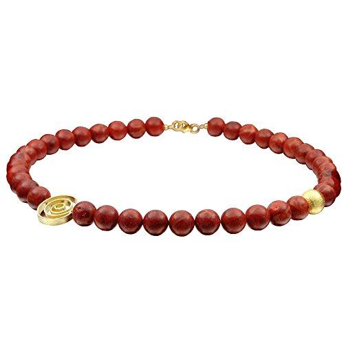 Kette Collier aus echter Koralle & 925 Silber hart vergoldet Damen Halskette Halsschmuck (Schmuck, Der Aus Korallen)