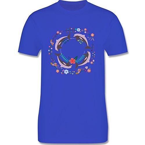 Vintage - Vintage Delfine Blumen Dolphin Flowers - Herren Premium T-Shirt Royalblau