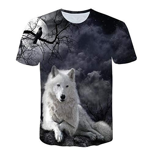 Herren T-Shirt 3D Lustige Wolf Muster Tee Kurzarm Bedruckt Pullover Unisex Casual Rundkragen Muscle Shirt Lässig Klassisches Sweatshirt Freizeit Kurzen Ärmels Bluse Tops