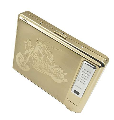 Sun_Lighter - Portasigarette accendino, Sunwbak, in metallo per regolare scatola da 20 sigarette, accendino ricaricabile tramite porta USB, senza fiamma, antivento, con cavo USB, perfetto per regalo di compleanno Motorcycle