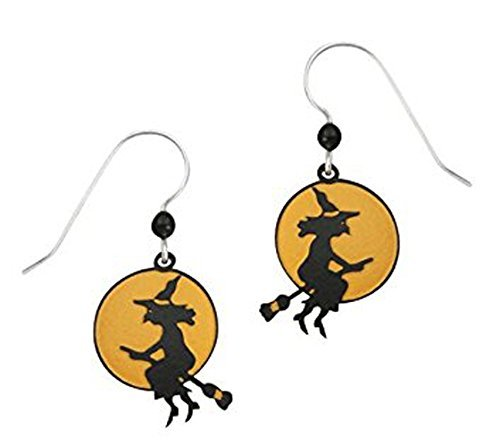 USA Artisan Sienna Sky Halloween Witch on Moon Earrings with Gift Box