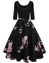 b9807490c653 VICGREY ❤ Vestiti Donna Elegante Cerimonia Stampato Vestito Autunno Maniche  Lunghe Party Prom Swing Abiti Dress