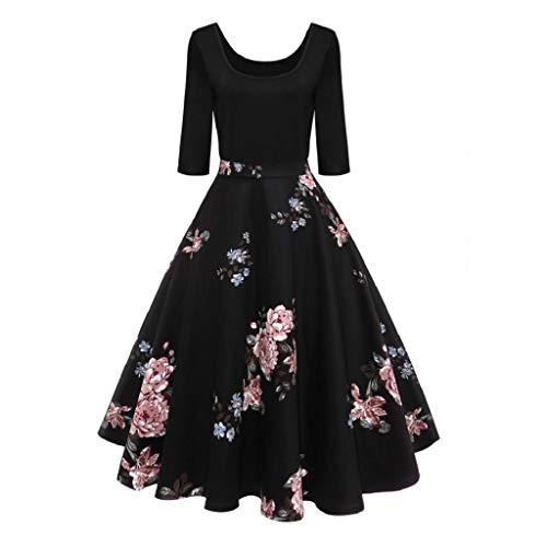 VICGREY ❤ Vestiti Donna Elegante Cerimonia Stampato Vestito Autunno Maniche Lunghe Party Prom Swing Abiti Dress Donna Vestiti 50 Anni Vestito Elegante Audrey Hepburn Sera Abito