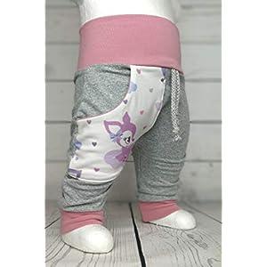 Baby Pumphose mit Tasche Wolkenkitz Grau Creme handmade Puschel-Design