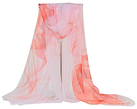 DAMILY Ladies Sarong Wrap Ink Painting Beach Cover Up Dresses (Pink)