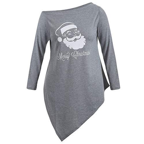 Damen Halloween Weihnachten Kostüm,Geili Frauen Halloween Weihnachten Langarm Geist Print Sweatshirt Pullover Tops Damen Lose Casual Asymmetrische Bluse T Shirt Oberteile
