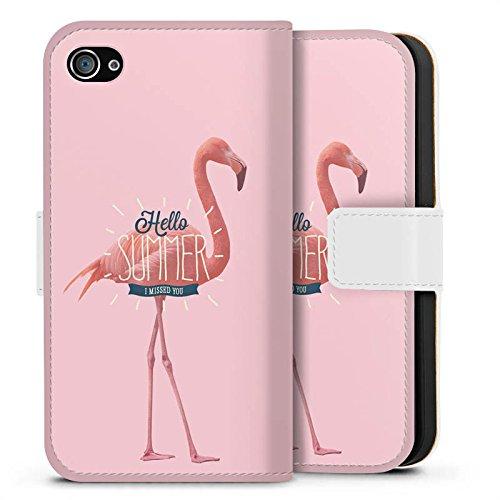 Apple iPhone X Silikon Hülle Case Schutzhülle Flamingo Sommer Urlaub Sideflip Tasche weiß